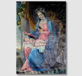 Tela giovanile di Giovanni Maria Borri raffigurante la Beata Vergine Maria ed il Bambino, conservata nella sacrestia del Santuario di Sommariva Bosco